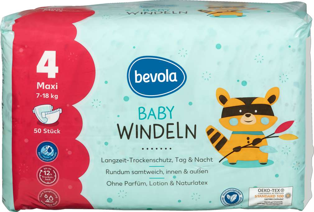 Abbildung des Sortimentsartikels Bevola Baby Windel Maxi 50 Stück