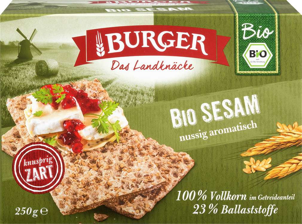Abbildung des Sortimentsartikels Burger Bio Knäckebrot Sesam 250g