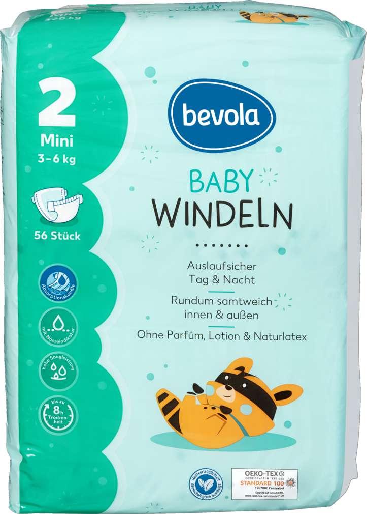 Abbildung des Sortimentsartikels Bevola Baby Windel Mini 56 Stück