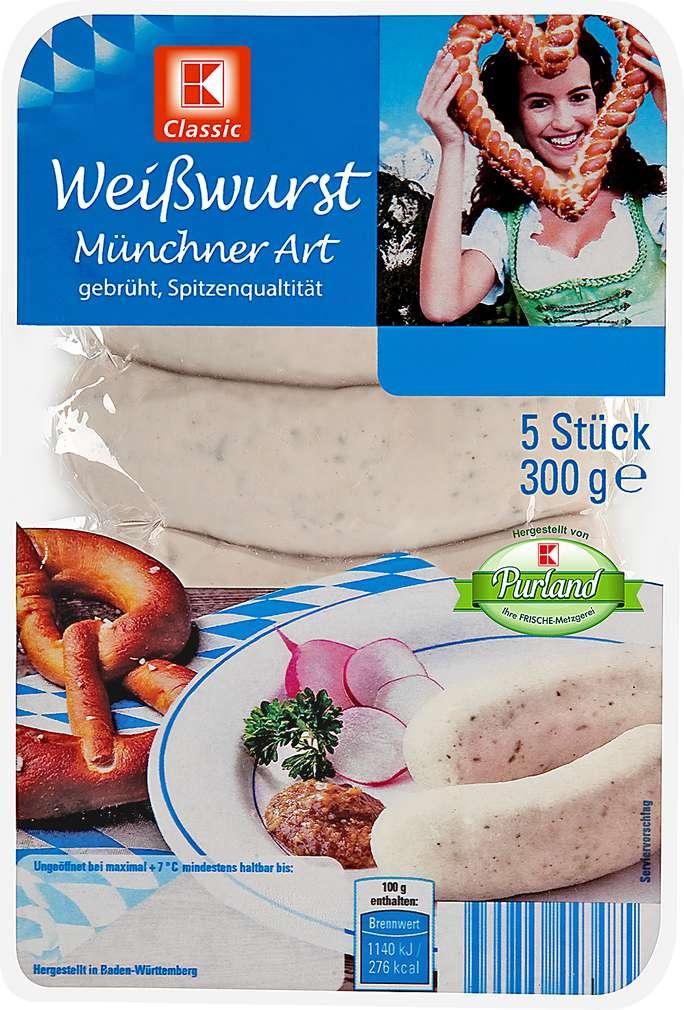 Abbildung des Sortimentsartikels K-Classic Weißwurst Münchner Art 5x60g