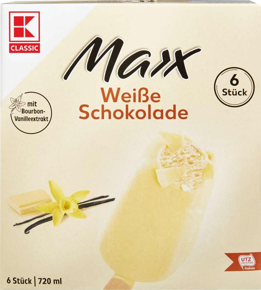 Abbildung des Sortimentsartikels K-Classic Maxx Stieleis Weiße Schokolade 720ml, 6 Stück