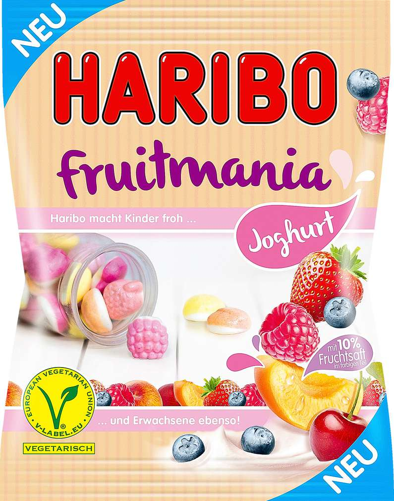Abbildung des Sortimentsartikels Haribo Fruitmania Joghurt 175g