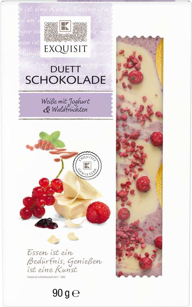 Abbildung des Sortimentsartikels Exquisit Duett Schokolade Weiße mit Joghurt & Waldfrüchten 90g