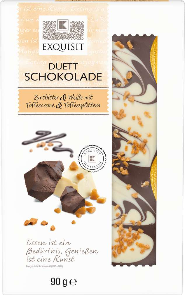 Abbildung des Sortimentsartikels Exquisit Duett Schokolade Zartbitter & Weiße 90g