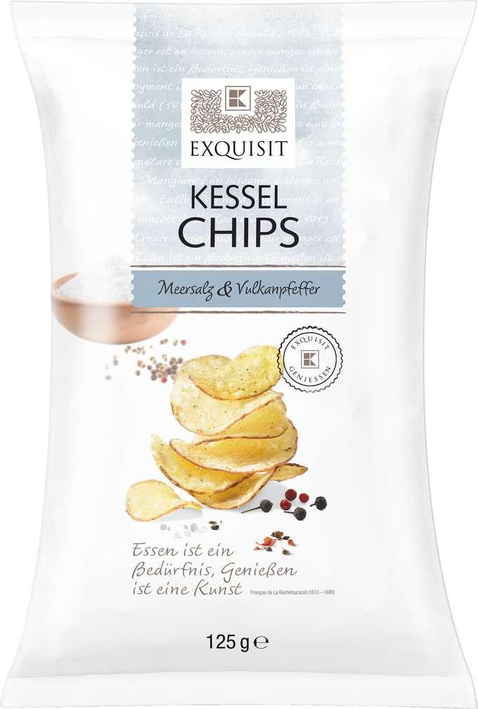 Abbildung des Sortimentsartikels Exquisit Premium Chips Meersalz und Vulkanpfeffer 125g