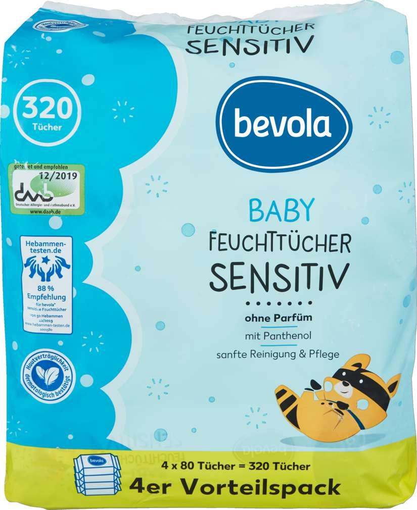 Abbildung des Sortimentsartikels Bevola Feuchttücher sensitive 4x80 Stück