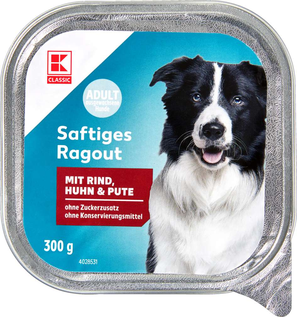 Abbildung des Sortimentsartikels K-Classic Hundenahrung Rind, Huhn und Pute 300g