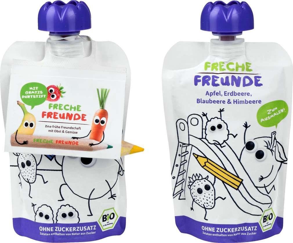 Abbildung des Sortimentsartikels Hipp Freche Freunde Quetschbeutel ab 1J Apfel/Erdbeere/Birne 200g