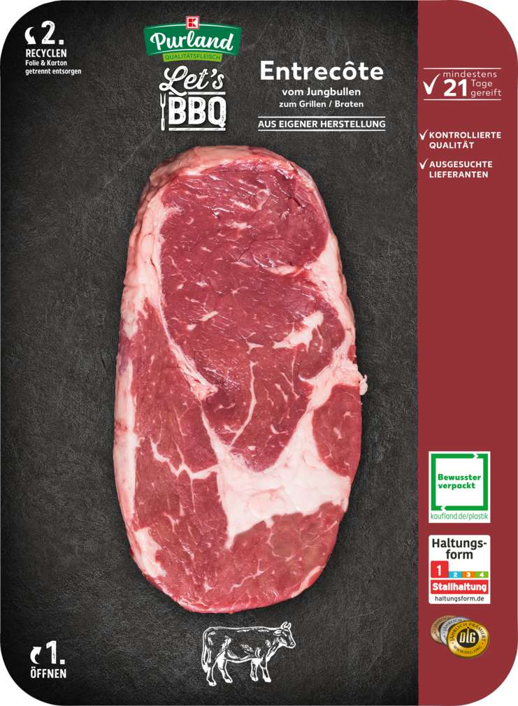 Abbildung des Sortimentsartikels K-Purland Let´s BBQ Entrecôte in Scheiben vom Jungbullen