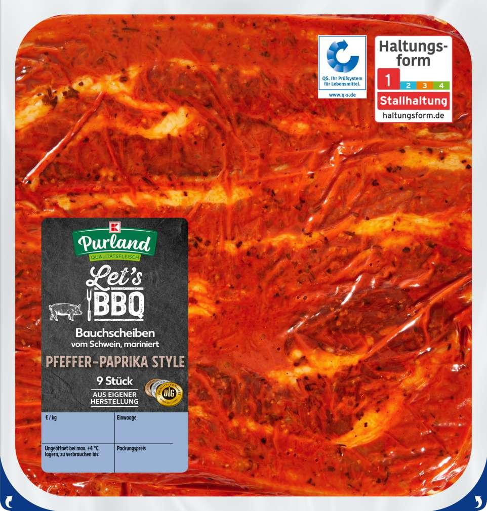 Abbildung des Sortimentsartikels K-Purland Let´s BBQ Bauchscheiben vom Schwein mariniert, 9 Stück