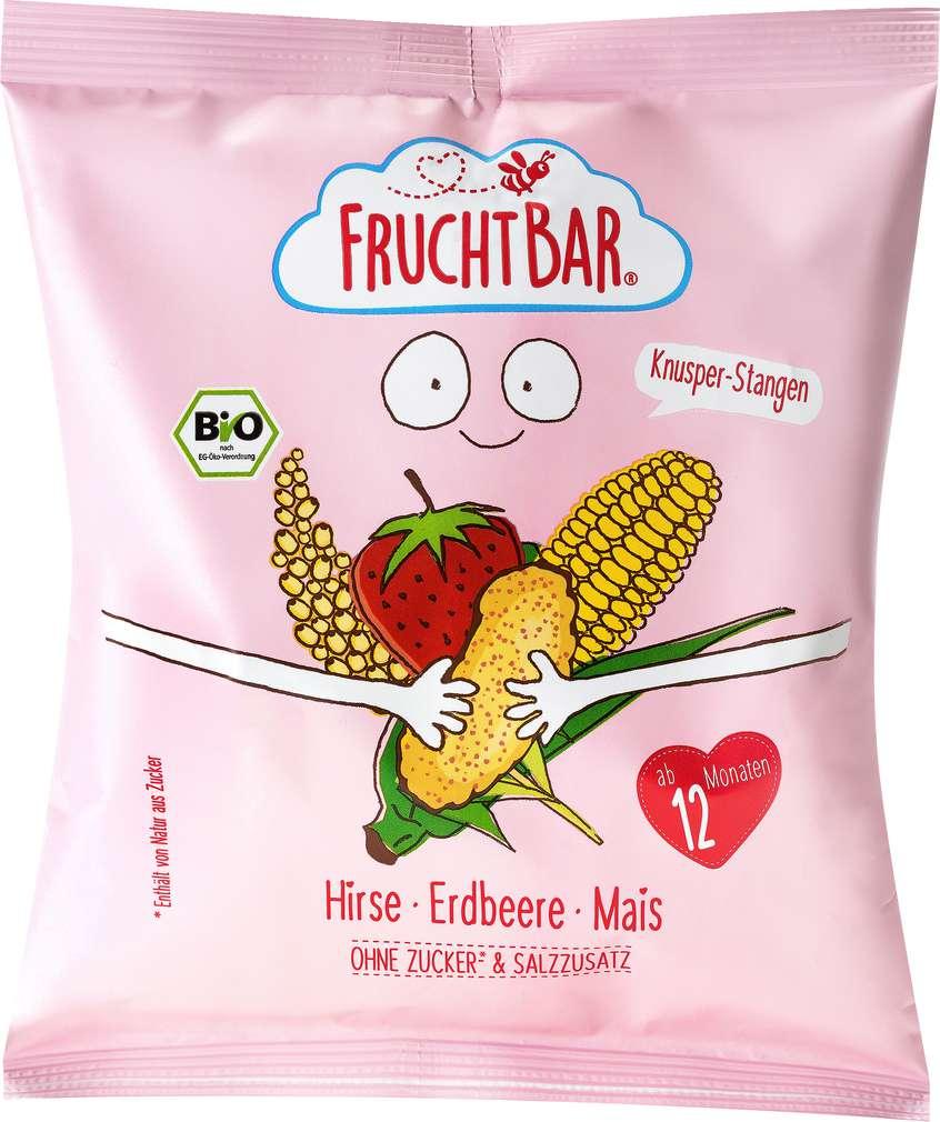 Abbildung des Sortimentsartikels jufico FruchtBar Knusper-Stangen Hirse, Erdbeere, Mais 30g