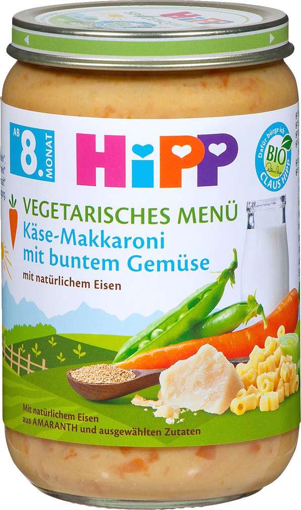 Abbildung des Sortimentsartikels Hipp Vegetarisches Menü Käse-Makkaroni mit buntem Gemüse 220g