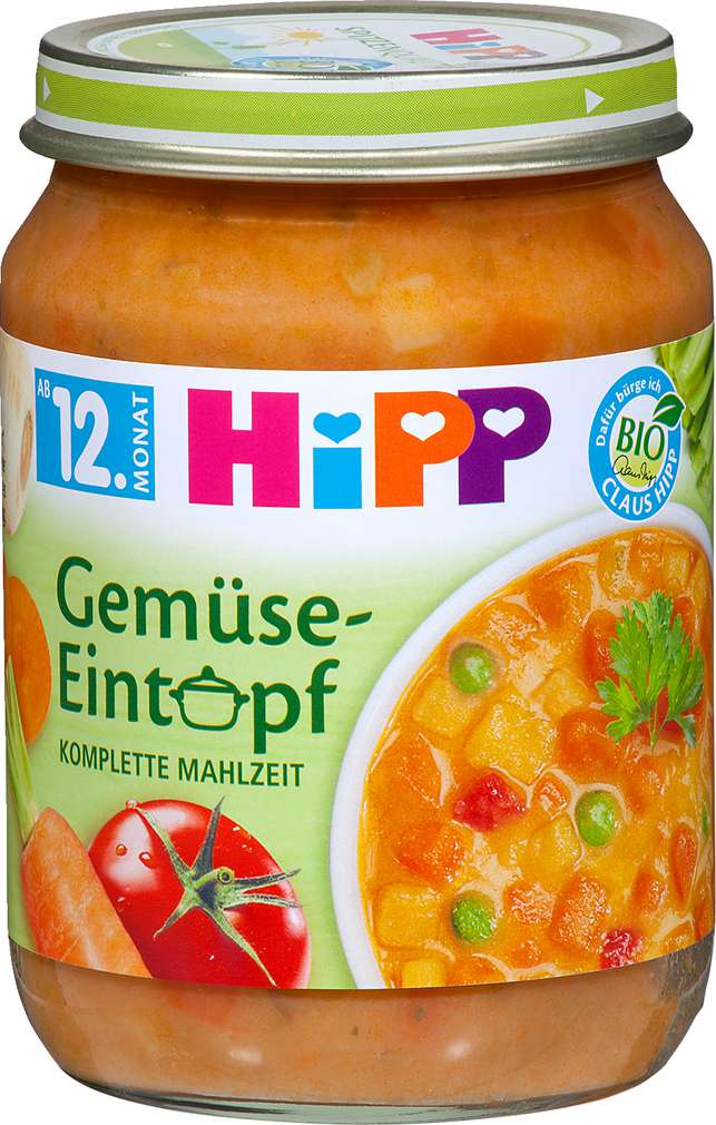 Abbildung des Sortimentsartikels Hipp Gemüse Eintopf 250g