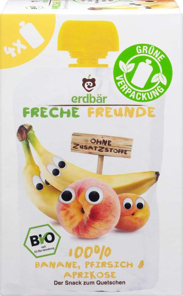Abbildung des Sortimentsartikels Hipp Freche Freunde Bio Quetschbeutel Banane/Pfirsiche/Aprikose 4x100g
