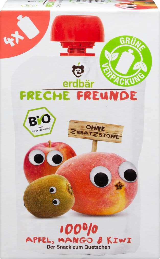 Abbildung des Sortimentsartikels Hipp Freche Freunde Bio Quetschbeutel Apfel/Mango/Kiwi 4x100g