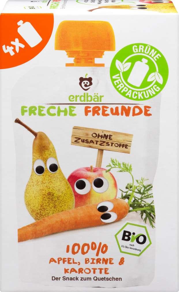 Abbildung des Sortimentsartikels Hipp Freche Freunde Bio Quetschbeutel Apfel/Birne/Karotte 4x100g