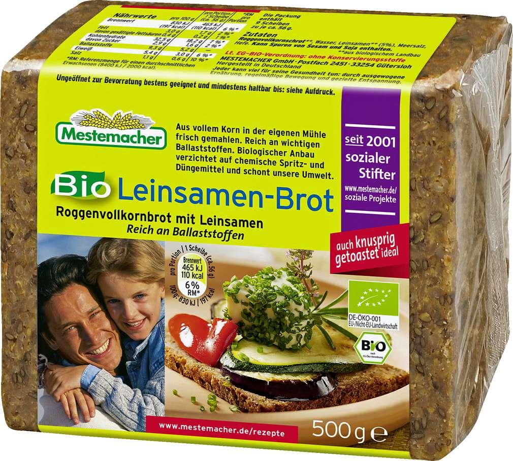 Abbildung des Sortimentsartikels Mestemacher Bio Leinsamenbrot 500g