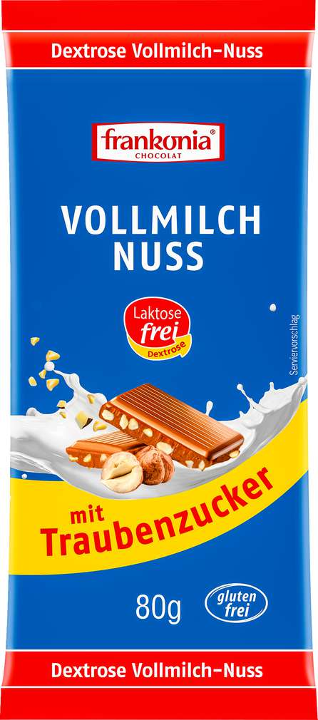 Abbildung des Sortimentsartikels Frankonia Chocolat Vollmilch Nuss laktose-, gluten-und kistallzuckerfrei 80g
