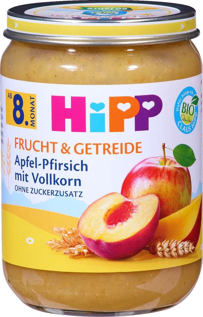 Abbildung des Sortimentsartikels Hipp Frucht & Getreide Apfel-Pfirsich mit Vollkorn 190g