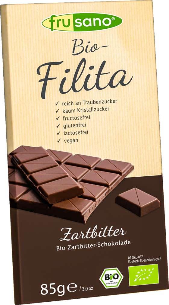 Abbildung des Sortimentsartikels Frusano Bio Zartbitterschokolade fructosearm 85g