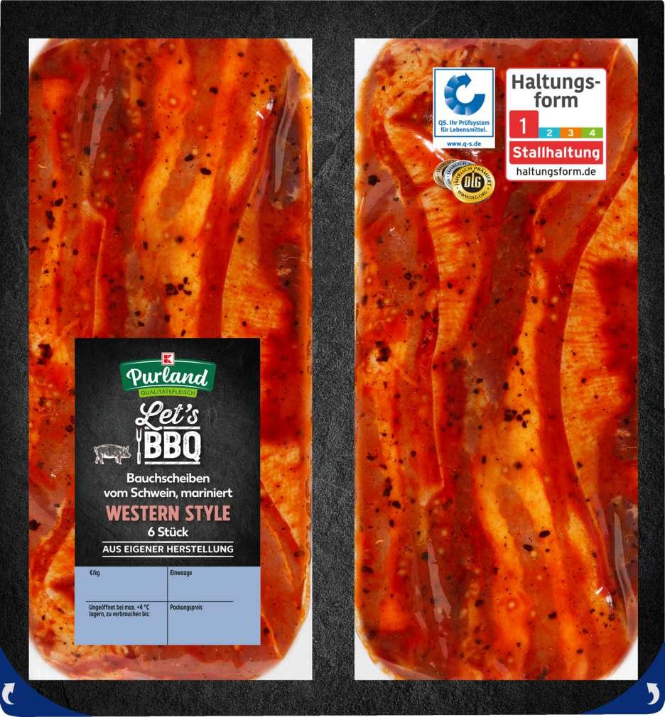 Abbildung des Sortimentsartikels K-Purland Western Bacon, vom Schweinebauch, mariniert, 6 Scheiben