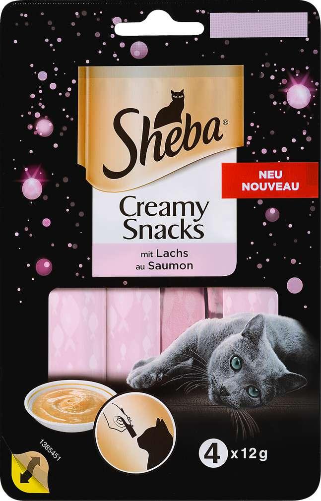 Abbildung des Sortimentsartikels Sheba Creamy Snacks mit Lachs 4x12g