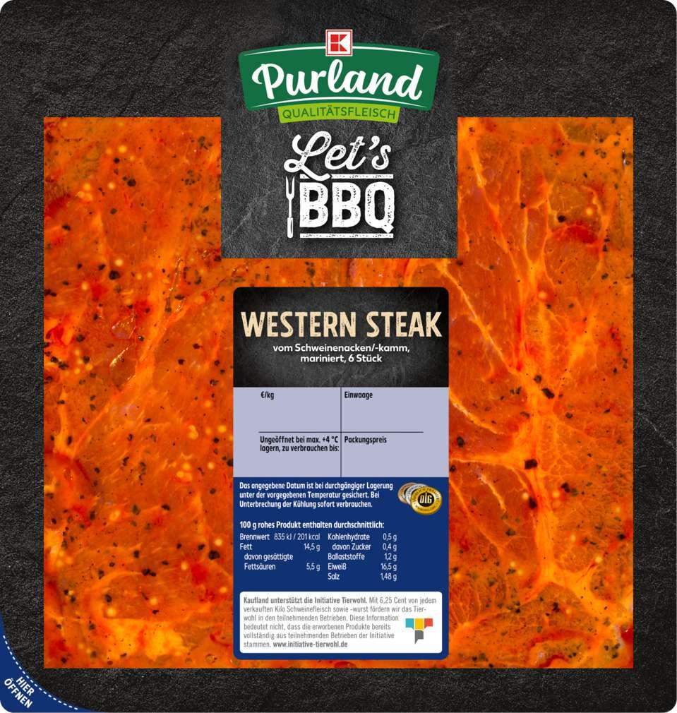 Abbildung des Sortimentsartikels K-Purland Western Steak vom Schweinenacken/-kamm, mariniert, 6 Stück