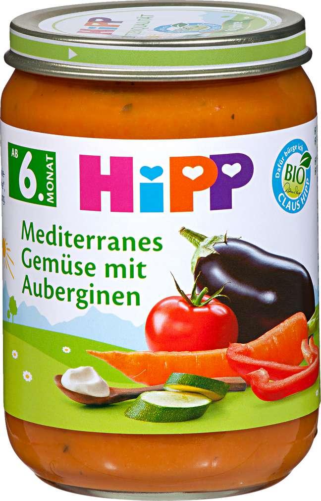 Abbildung des Sortimentsartikels Hipp Mediterranes Gemüse mit Auberginen 190g