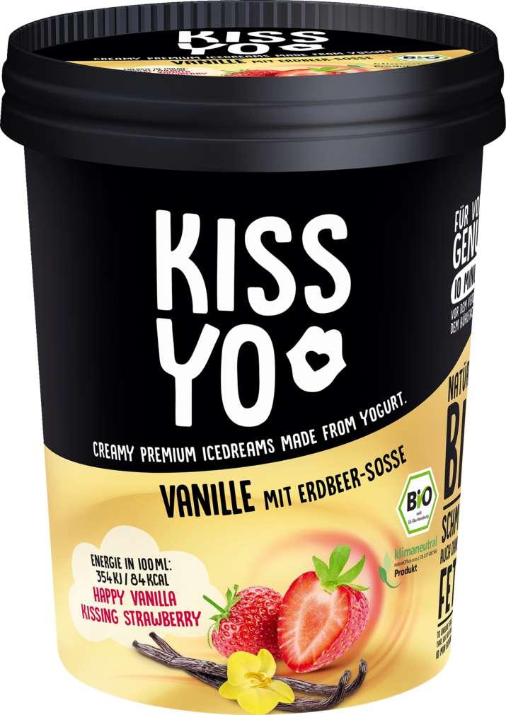 Abbildung des Sortimentsartikels Kissyo Bio Frozen Joghurt Vanille Erdbeere 500ml