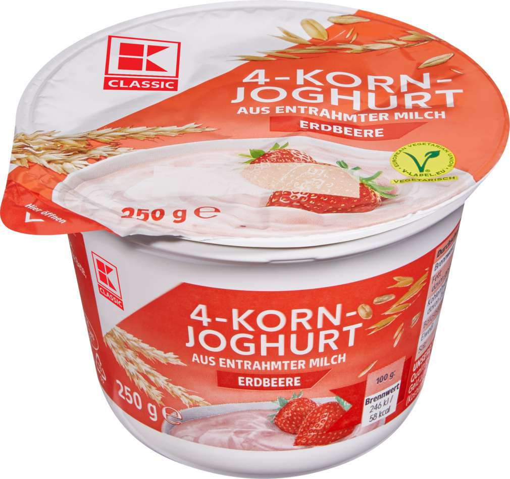 Abbildung des Sortimentsartikels K-Classic Joghurt mit Cerealien 0,1% Fett Erdbeere 250g