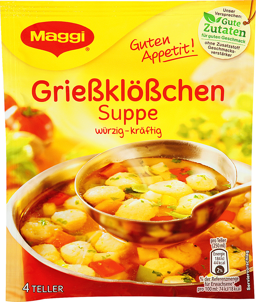 Abbildung des Sortimentsartikels Maggi Grießklößchen Suppe 50g