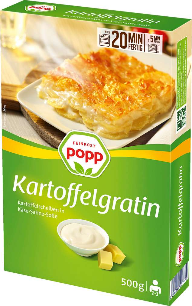 Abbildung des Sortimentsartikels Popp Feinkost Kartoffelgratin 500g