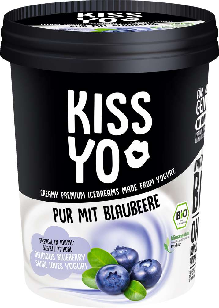 Abbildung des Sortimentsartikels Kissyo Bio-Joghurteis Heidelbeer-Sorbet 500ml