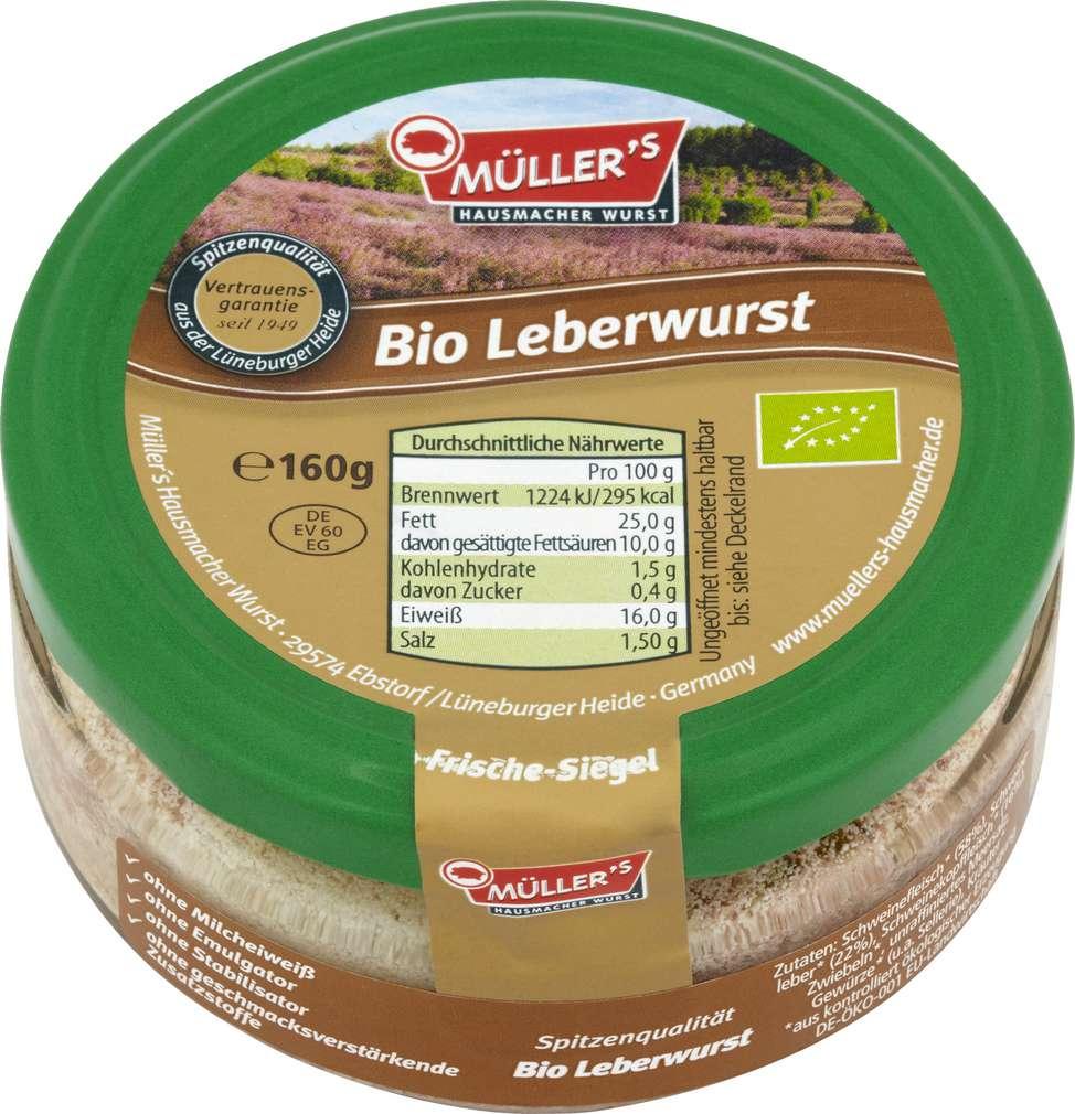 Abbildung des Sortimentsartikels Müller's Hausmacher Wurst Bio Leberwurst 160g