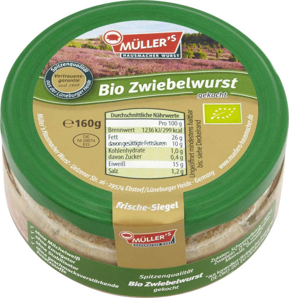 Abbildung des Sortimentsartikels Müller's Hausmacher Wurst Bio Zwiebelwurst gekocht 160g