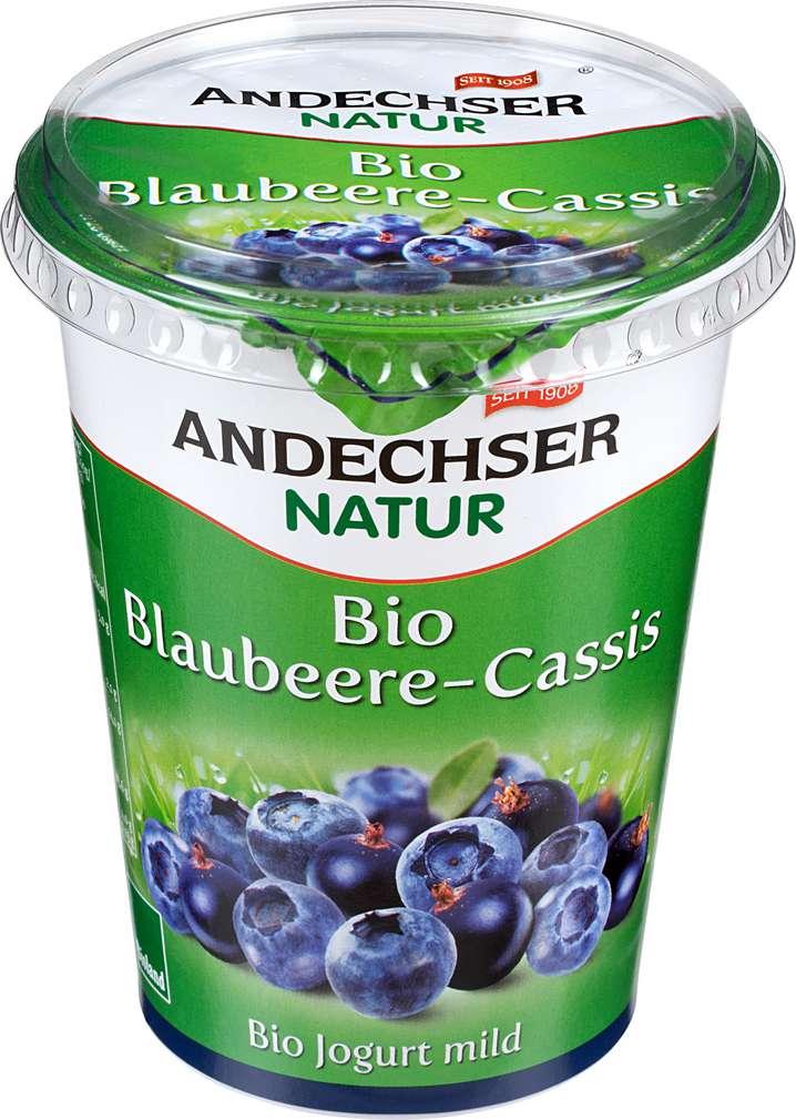 Abbildung des Sortimentsartikels Andechser Natur Bio-Jogurt mild Blaubeere-Cassis 400g