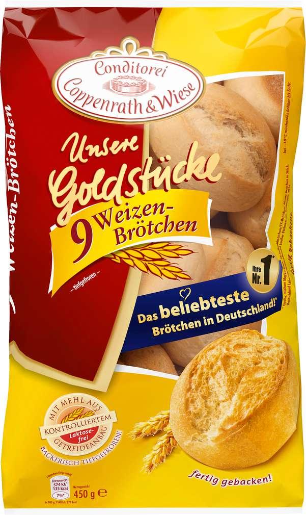 Abbildung des Sortimentsartikels Conditorei Coppenrath & Wiese Unsere Goldstücke Weizen-Brötchen 450g 9 Stück