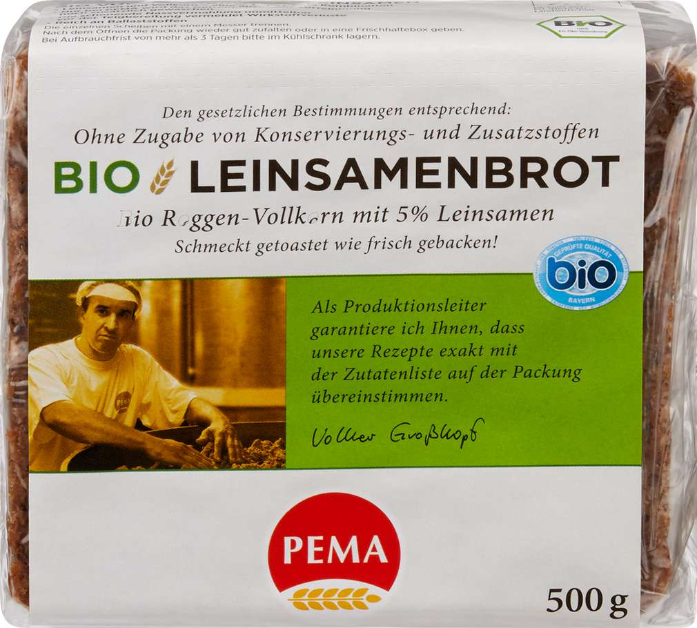 Abbildung des Sortimentsartikels Pema Bio Leinsamenbrot 500g