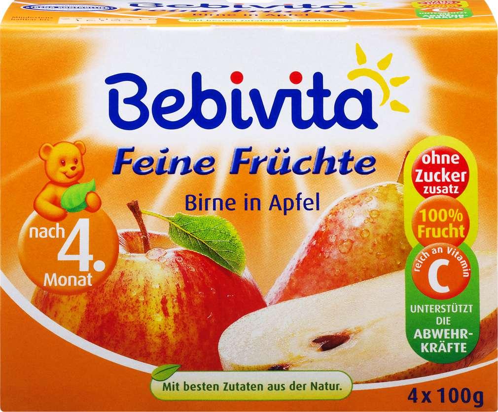 Abbildung des Sortimentsartikels Bebivita Feine Früchte Birne in Apfel 4x100g