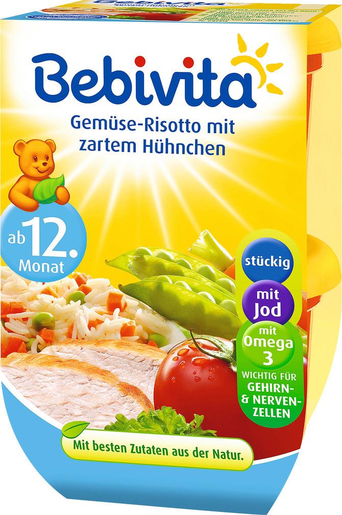 Abbildung des Sortimentsartikels Bebivita Gemüse-Risotto mit zartem Hühnchen 2x250g