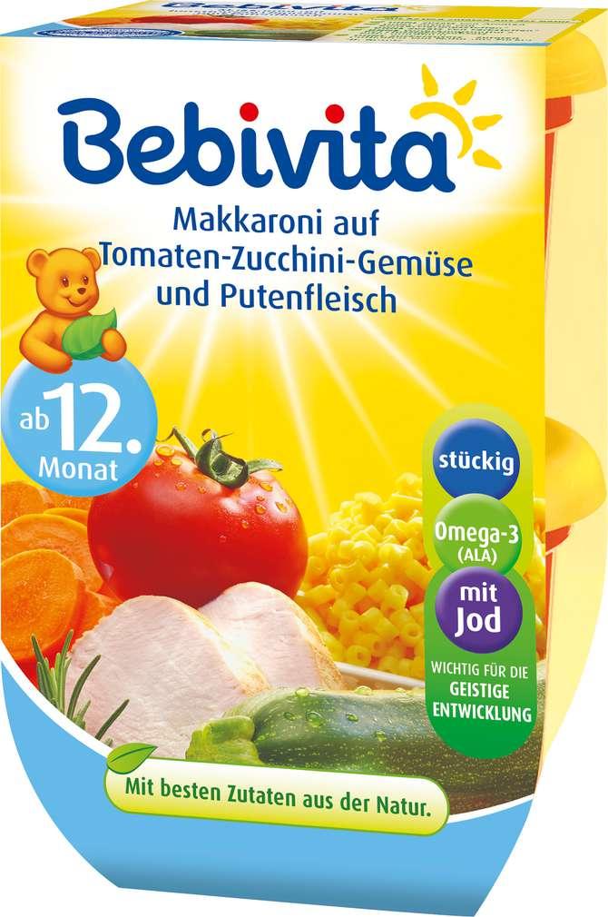 Abbildung des Sortimentsartikels Bebivita Makkaroni auf Tomaten-Zucchini-Gemüse & Putenfleisch 2x250g