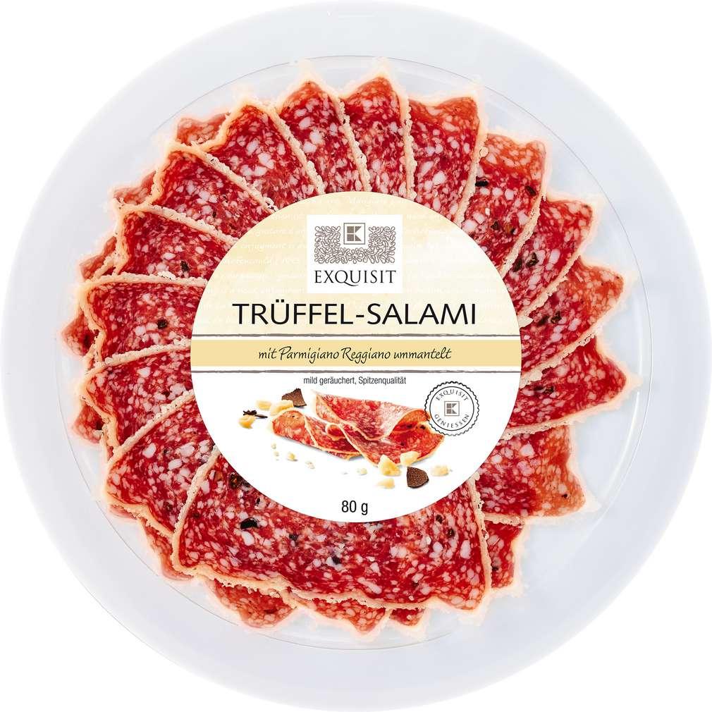 Abbildung des Sortimentsartikels Exquisit Trüffel-Salami mit Parmigiano Reggiano ummantelt 80g