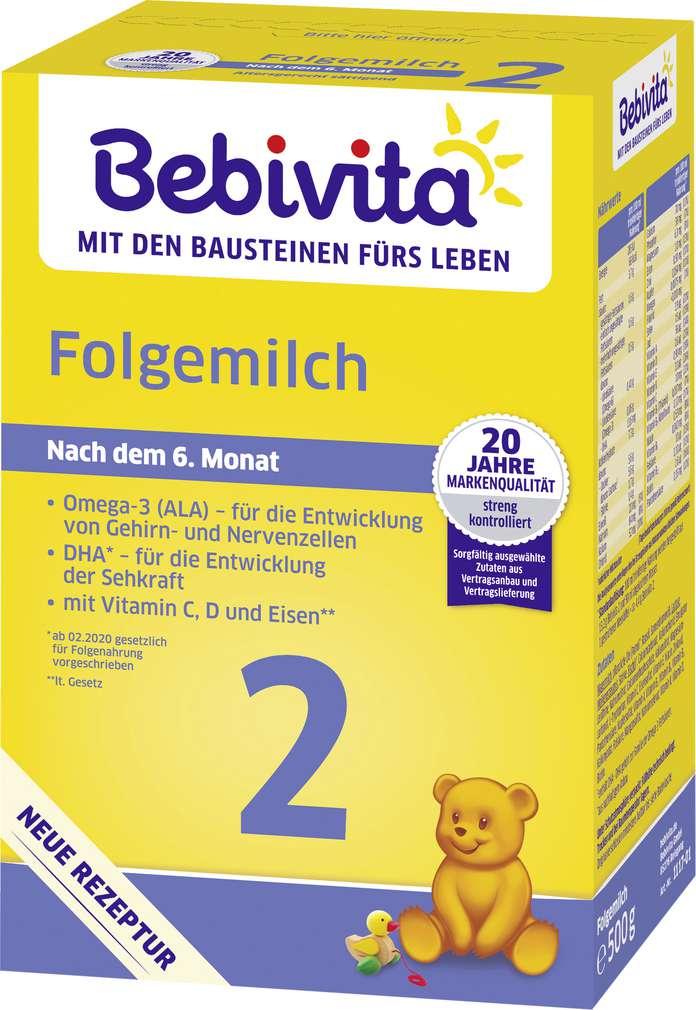 Abbildung des Sortimentsartikels Bebivita Folgemilch 2 ab dem 6. Monat 500g