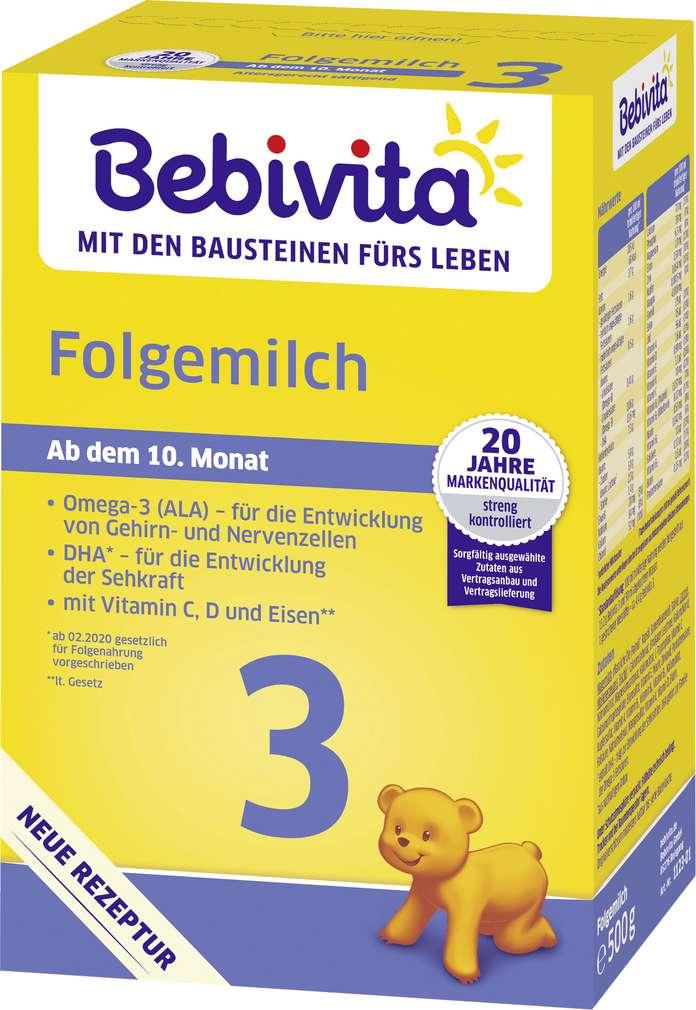Abbildung des Sortimentsartikels Bebivita Folgemilch 3 ab dem 10. Monat 500g