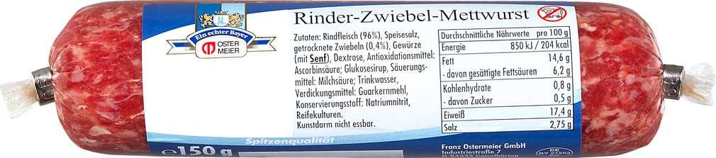Abbildung des Sortimentsartikels Ostermeier Rinder-Zwiebel-Mettwurst 150g