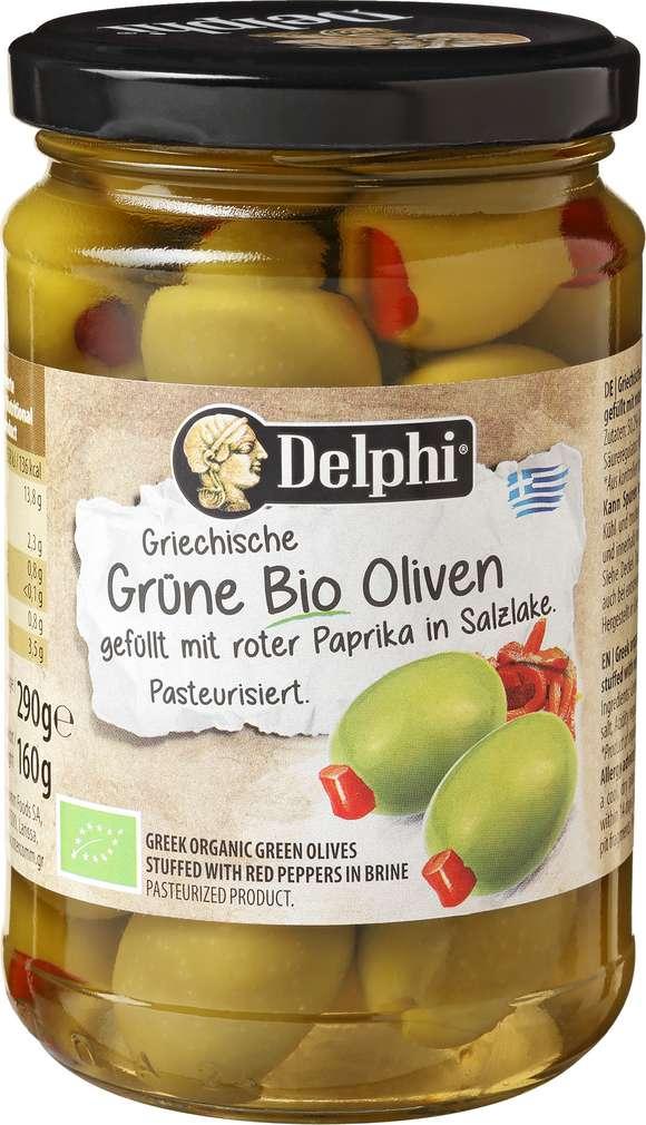 Abbildung des Sortimentsartikels Delphi 314mlGrüne Bio Oliven mit Paprika 290g
