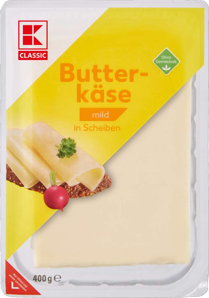 Abbildung des Sortimentsartikels K-Classic Butterkäse in Scheiben 45% Fett i. Tr. 400g