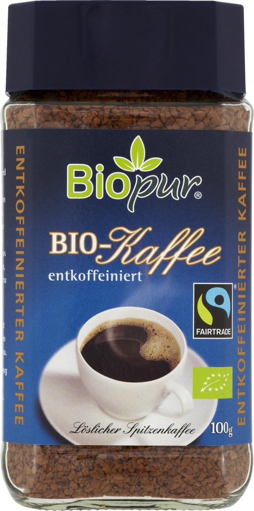 Abbildung des Sortimentsartikels Biopur Kaffee entkoffeiniert 100g