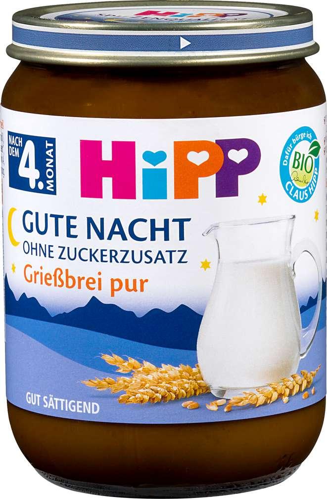 Abbildung des Sortimentsartikels Hipp Gute Nacht ohne Zuckerzusatz Grießbrei pur 190g