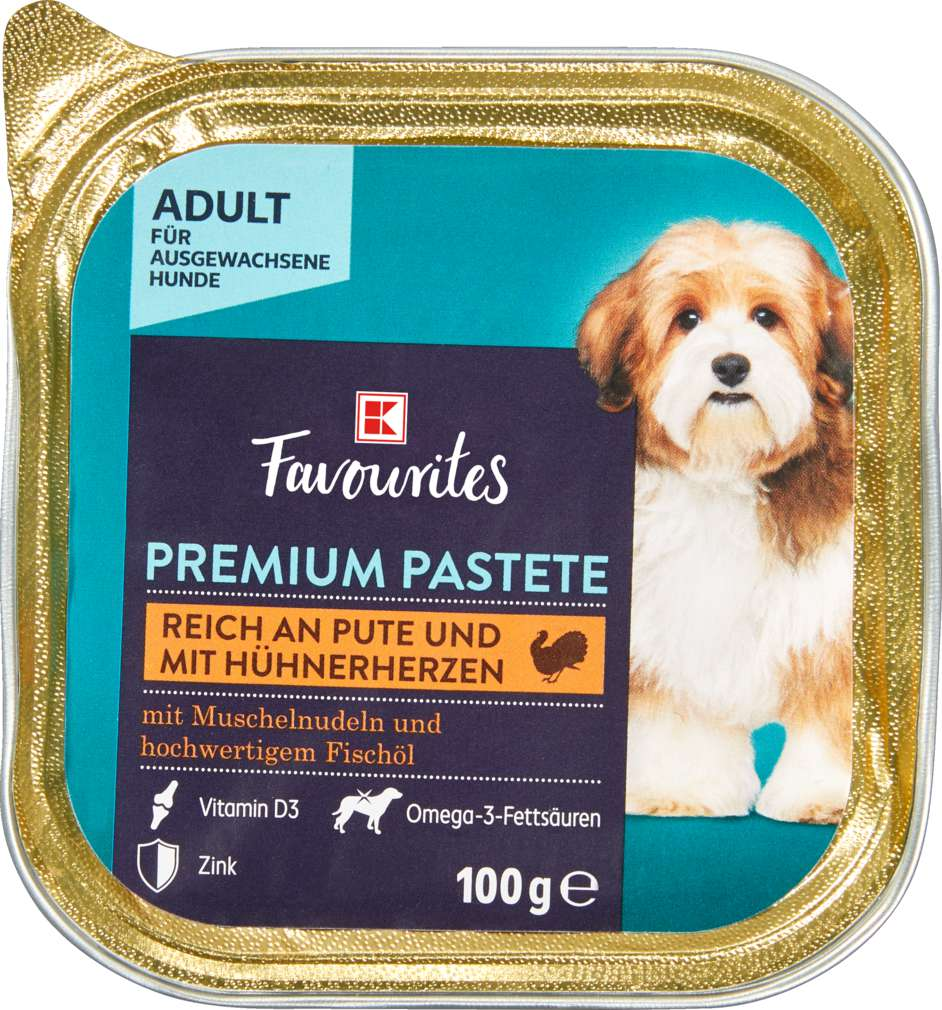 Abbildung des Sortimentsartikels K-Favourites Hundenahrung Premium Pastete Pute mit Hühnerherz 100g